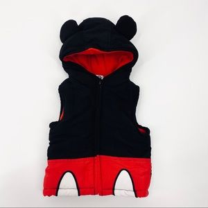 Disney Mickey Mouse Ears Puffer Fleece Lined Vest